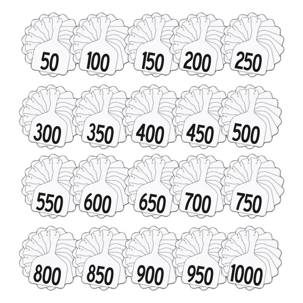Z Tags feedlot pre-printed tags numbered 1-1000 (White)