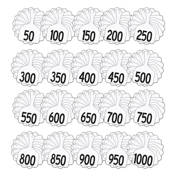 Z Tags 1 Piece Feedlot Stamped 1-1000 In Bundles Of 50 (White) - Pre-Printed Tags Z Tags - Canada