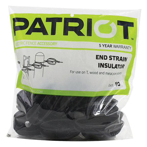 Patriot Black End Strain Insulator (10 Pack) - Fencing Patriot - Canada
