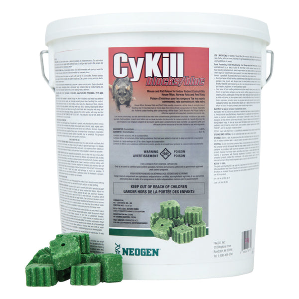 CyKill Block bromethalin 0.01% block pail 144x28.3g - Remedy Animal Health Products Ltd.
