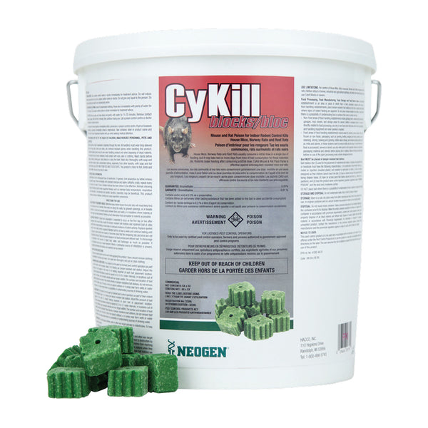 CyKill Block bromethalin 0.01% block pail 25x28.3g - Remedy Animal Health Products Ltd.