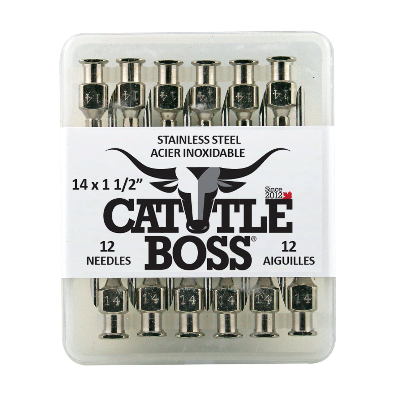 Cattle Boss stainless steel hub needle (12 pack) 14x1 1/2