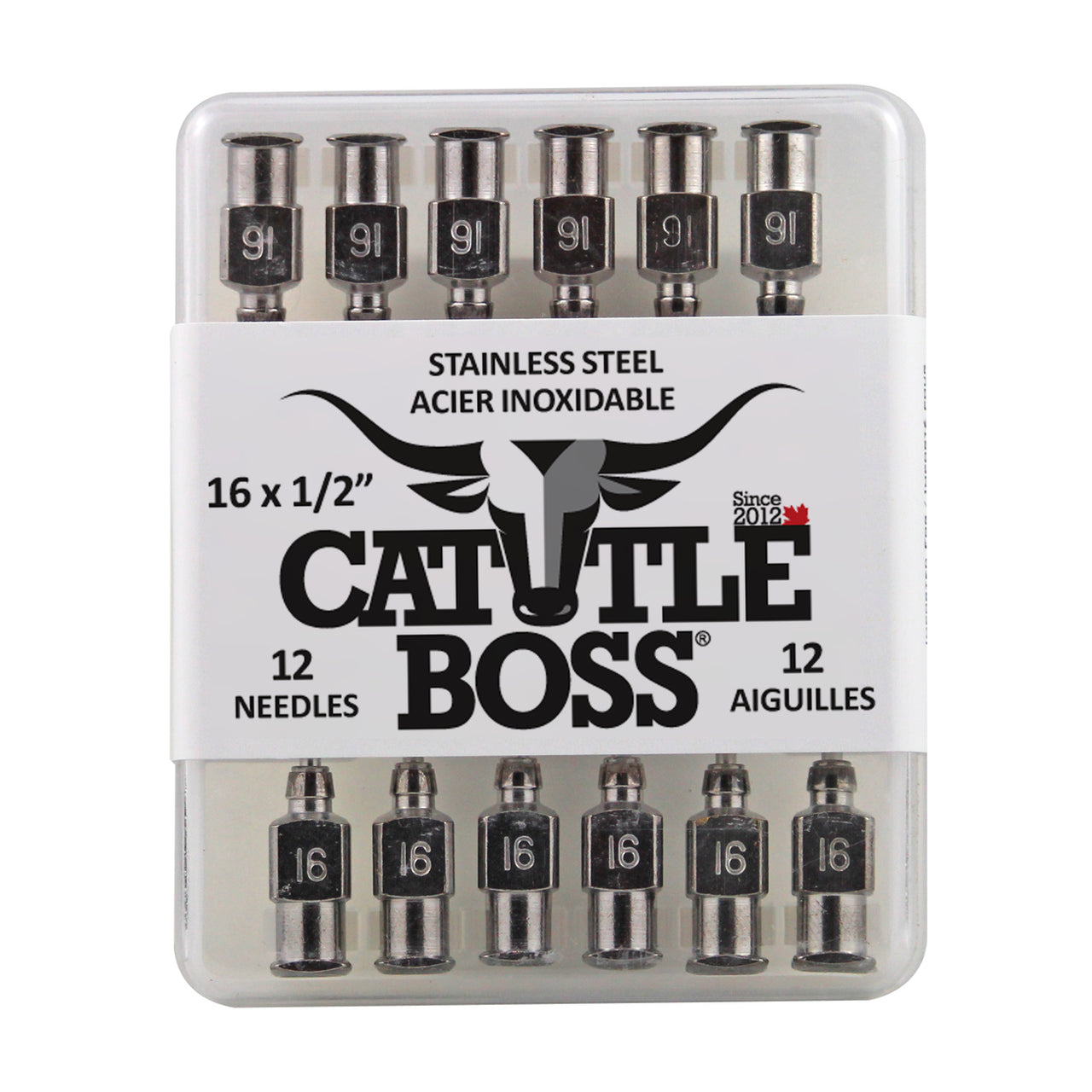Cattle Boss Stainless Steel Hub Needle (12 Pack) 16X1/2 - Drug Administration Cattle Boss - Canada