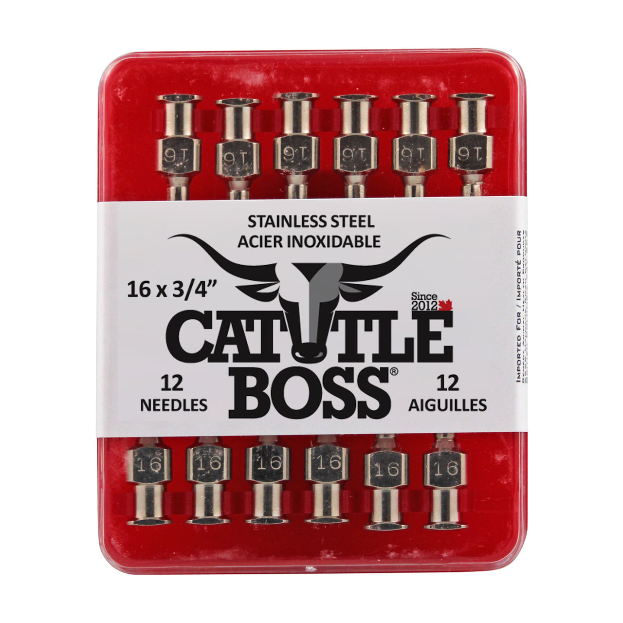 Cattle Boss stainless steel hub needle (12 pack) 16x3/4
