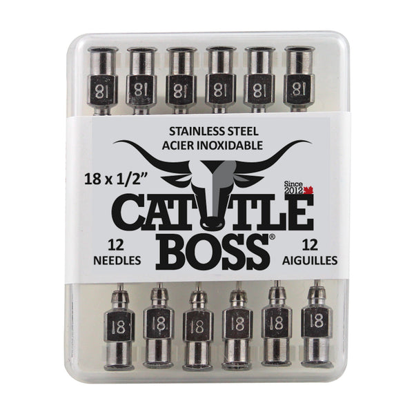 Cattle Boss Stainless Steel Hub Needle (12 Pack) 18X1/2 - Drug Administration Cattle Boss - Canada