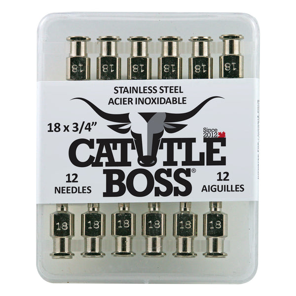 Cattle Boss Stainless Steel Hub Needle (12 Pack) 18X3/4 - Drug Administration Cattle Boss - Canada