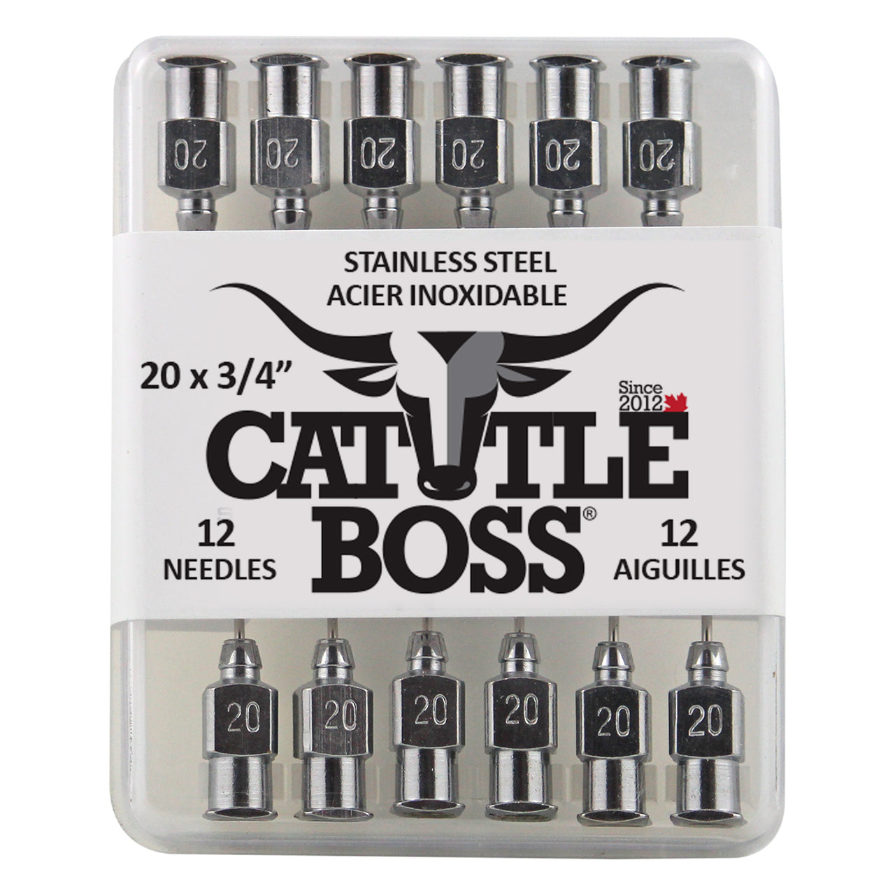 Cattle Boss stainless steel hub needle (12 pack) 20x3/4