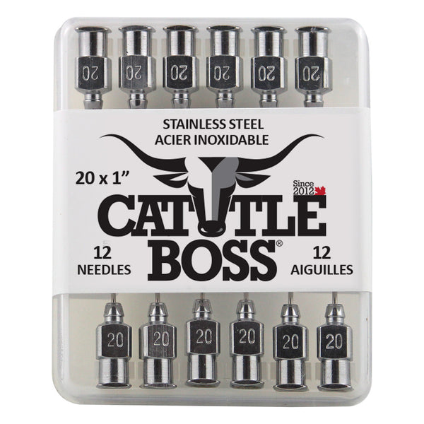 Cattle Boss Stainless Steel Hub Needle (12 Pack) 20X1 - Drug Administration Cattle Boss - Canada
