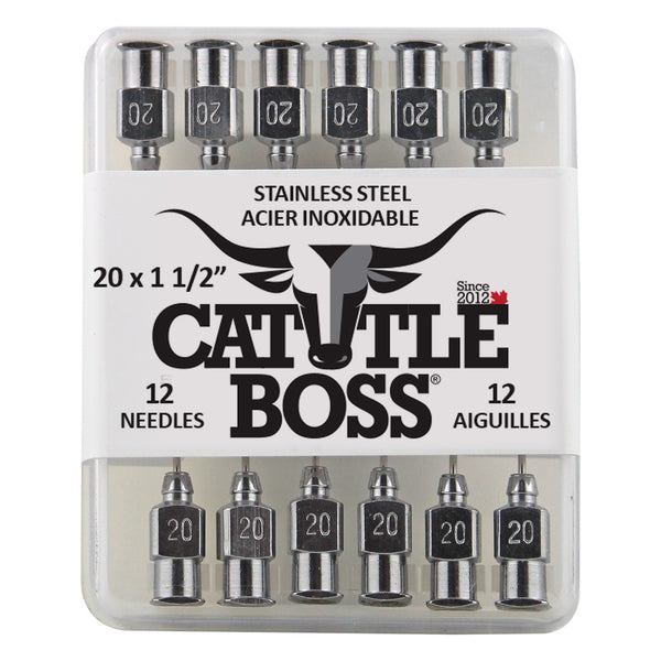 Cattle Boss Stainless Steel Hub Needle (12 Pack) 20X1 1/2 - Drug Administration Cattle Boss - Canada