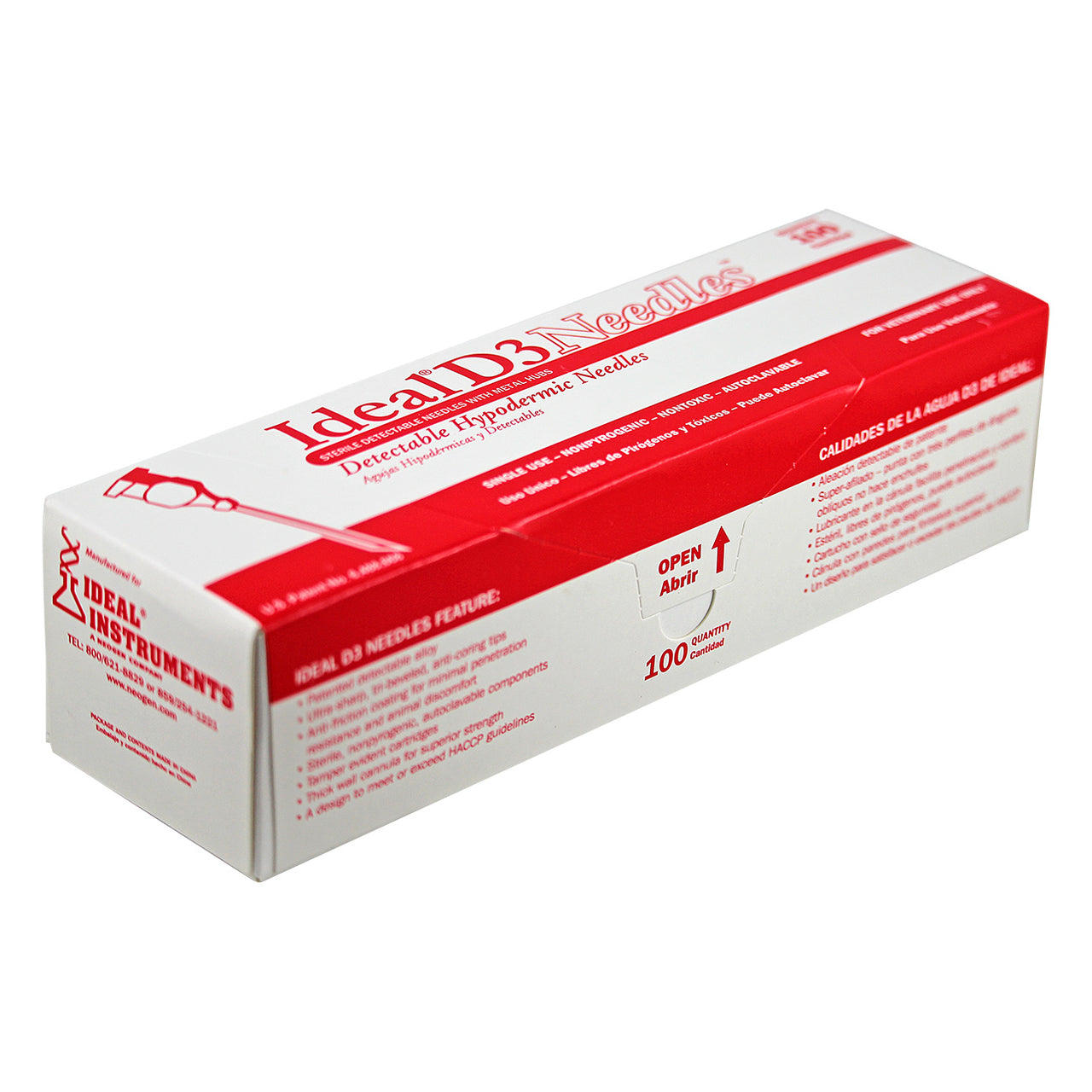 Ideal D3 detectable brass hub needle (100 per box) 16 X 3/4