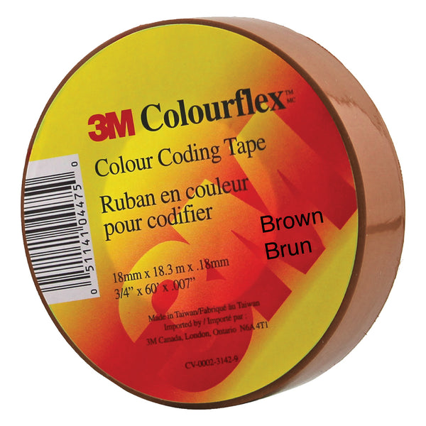 3M Colourflex Coding Tape 3/4X60 (Brown) - Wound Dressing 3M - Canada