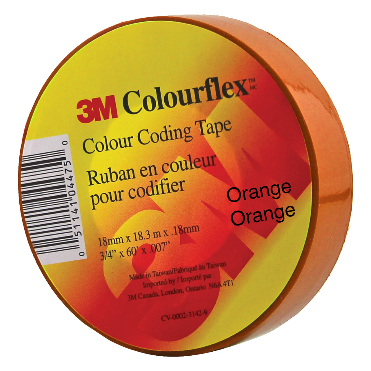 3M Colourflex Coding Tape 3/4X60 (Orange) - Wound Dressing 3M - Canada