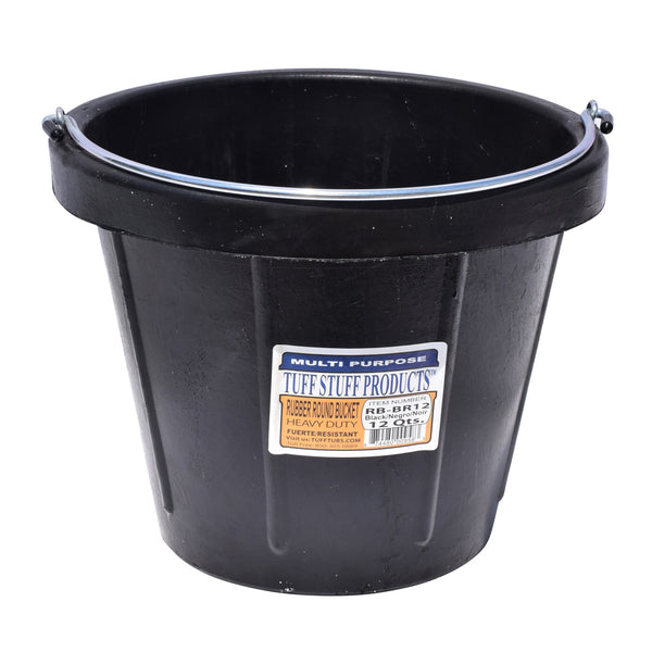 Tuff Stuff Rubber Round Bucket 12 Qts With Handle - Buckets Pails Feeders Scoops Tubs Bottles Tuff Stuff - Canada