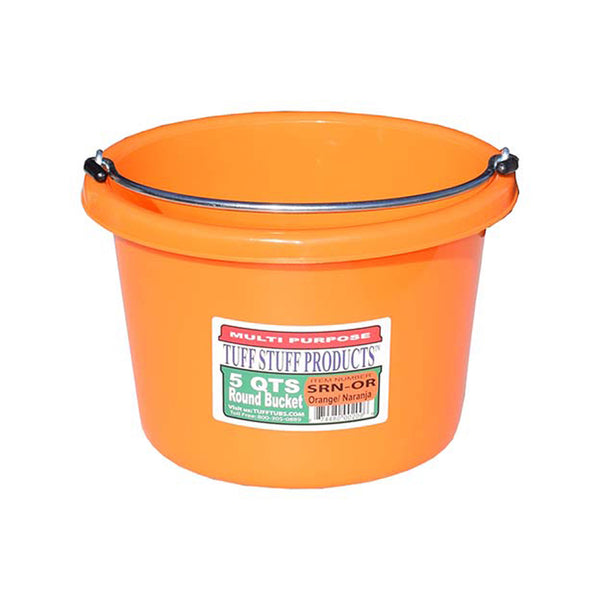 Tuff Stuff Small Round Bucket 5 Qts (Orange) - Buckets Pails Feeders Scoops Tubs Bottles Tuff Stuff - Canada