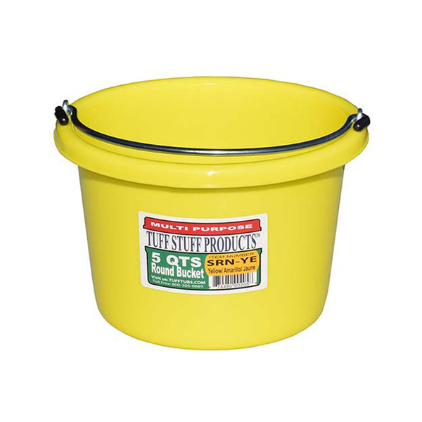 Tuff Stuff Small Round Bucket 5 Qts (Yellow) - Buckets Pails Feeders Scoops Tubs Bottles Tuff Stuff - Canada
