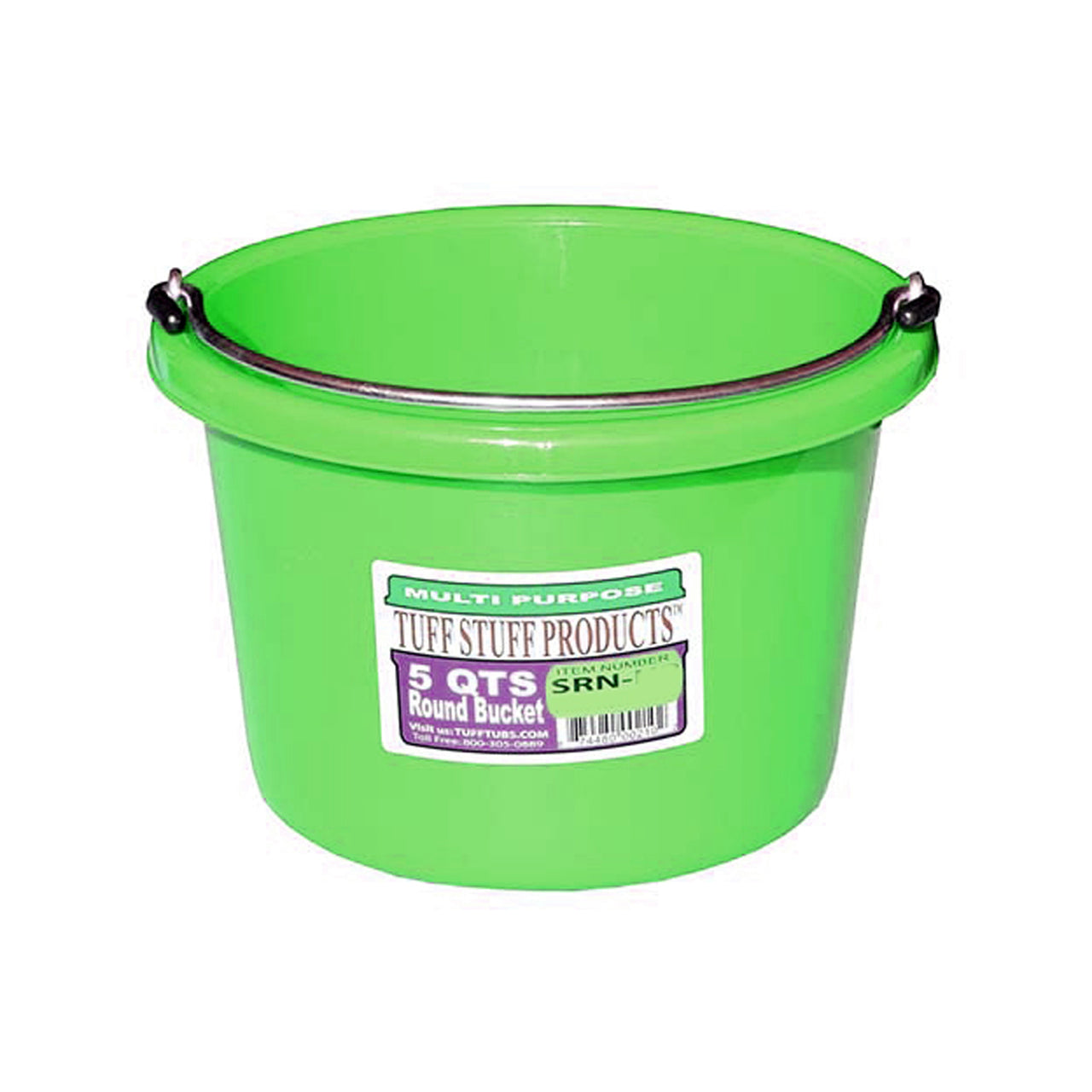 Tuff Stuff Small Round Bucket 5 Qts (Green) - Buckets Pails Feeders Scoops Tubs Bottles Tuff Stuff - Canada