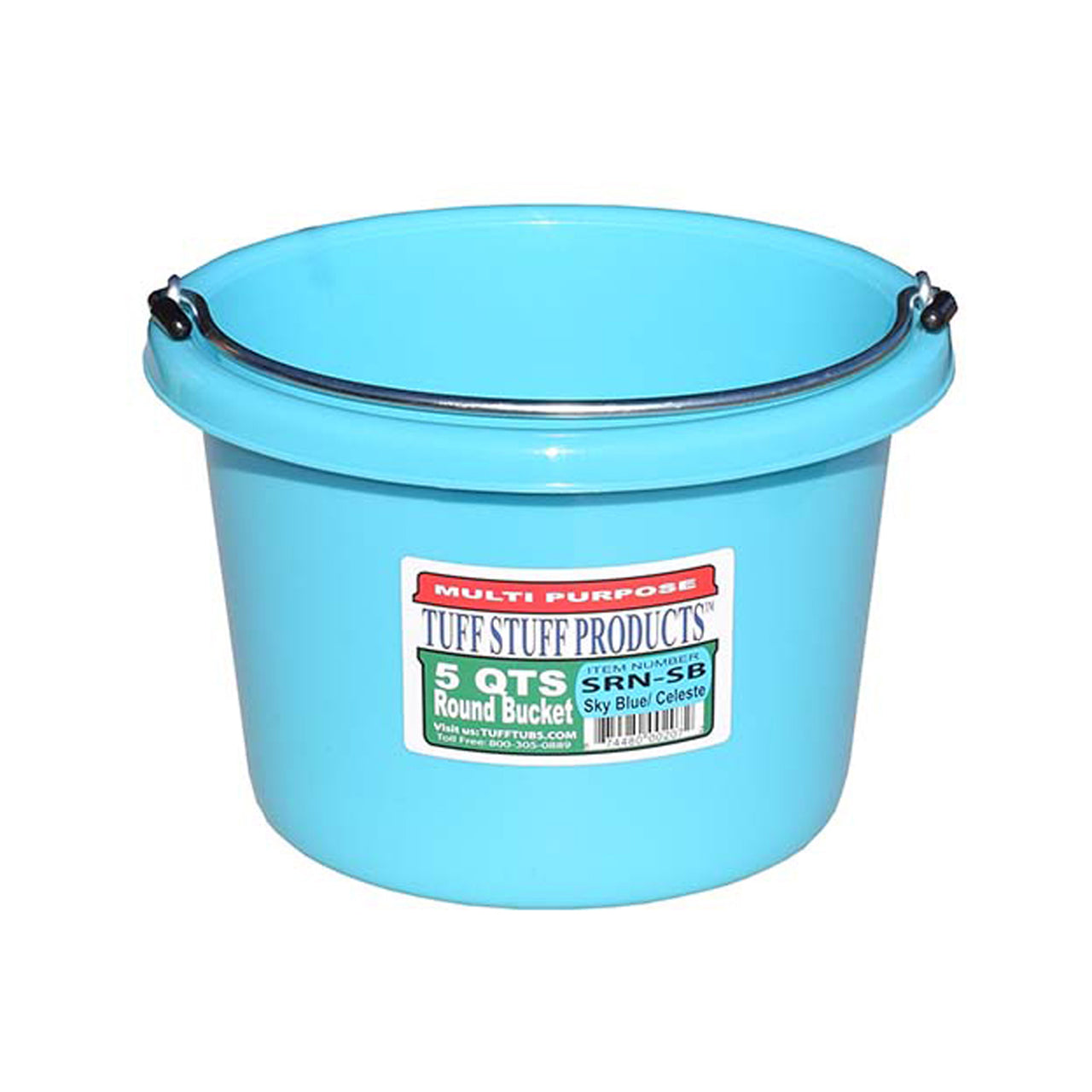 Tuff Stuff Small Round Bucket 5 Qts (Sky Blue) - Buckets Pails Feeders Scoops Tubs Bottles Tuff Stuff - Canada