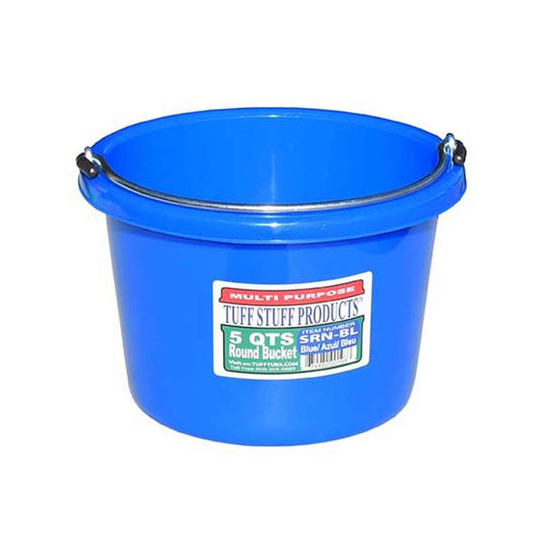 Tuff Stuff Small Round Bucket 5 Qts (Blue) - Buckets Pails Feeders Scoops Tubs Bottles Tuff Stuff - Canada