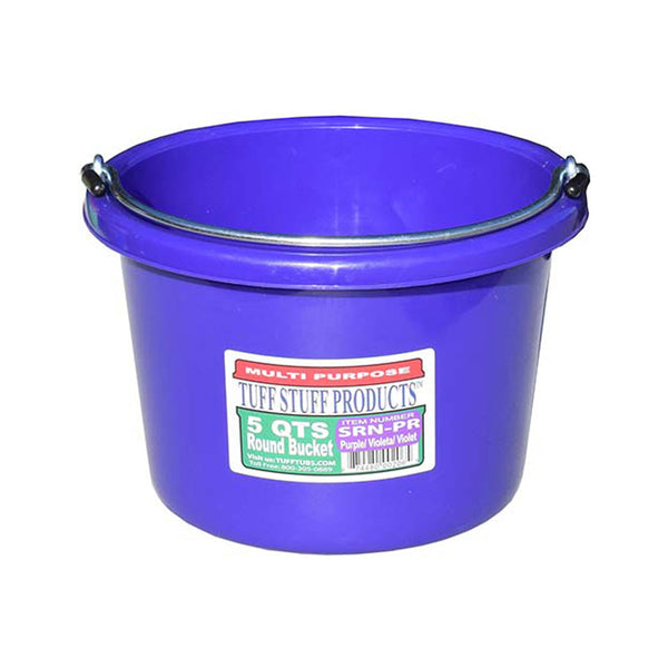 Tuff Stuff Small Round Bucket 5 Qts (Purple) - Buckets Pails Feeders Scoops Tubs Bottles Tuff Stuff - Canada