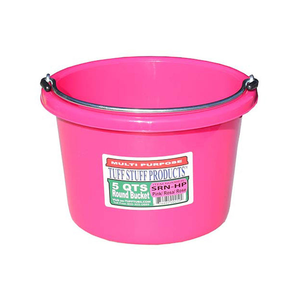 Tuff Stuff Small Round Bucket 5 Qts (Pink) - Buckets Pails Feeders Scoops Tubs Bottles Tuff Stuff - Canada