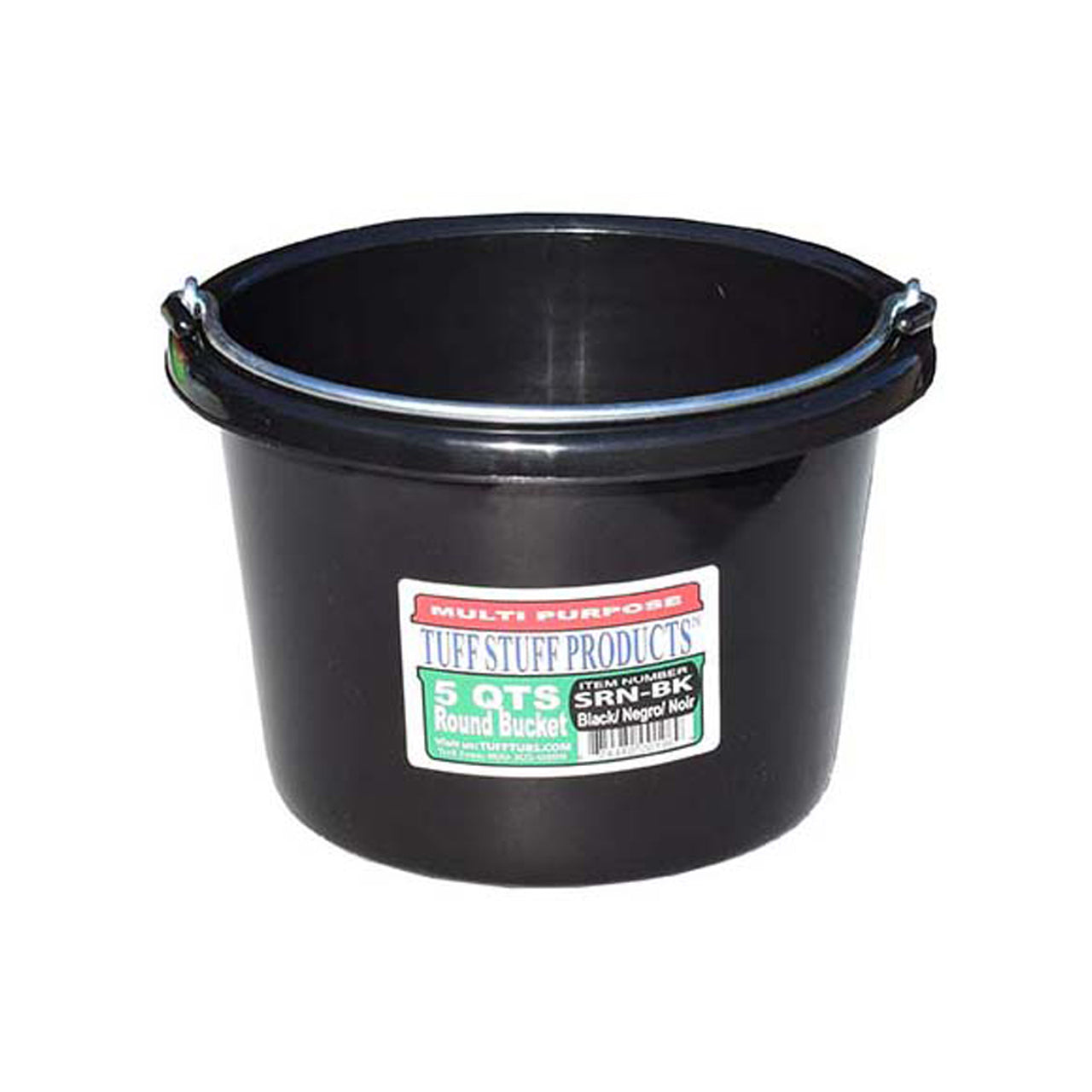 Tuff Stuff Small Round Bucket 5 Qts (Black) - Buckets Pails Feeders Scoops Tubs Bottles Tuff Stuff - Canada