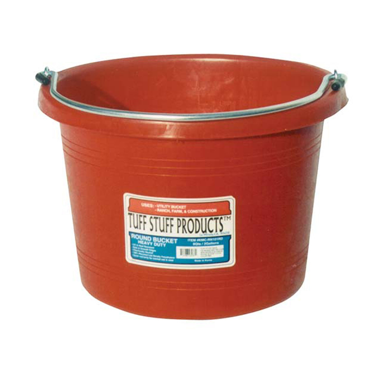 Tuff Stuff Round Bucket 8 Qts - Red - Buckets Pails Feeders Scoops Tubs Bottles Tuff Stuff - Canada