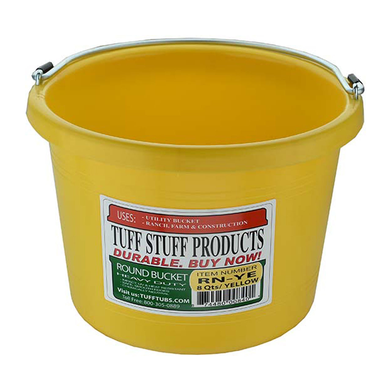 Tuff Stuff Round Bucket 8 Qts - Yellow - Buckets Pails Feeders Scoops Tubs Bottles Tuff Stuff - Canada