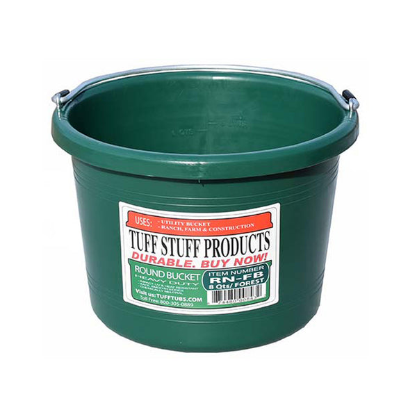 Tuff Stuff Round Bucket 8 Qts - Forest Green - Buckets Pails Feeders Scoops Tubs Bottles Tuff Stuff - Canada