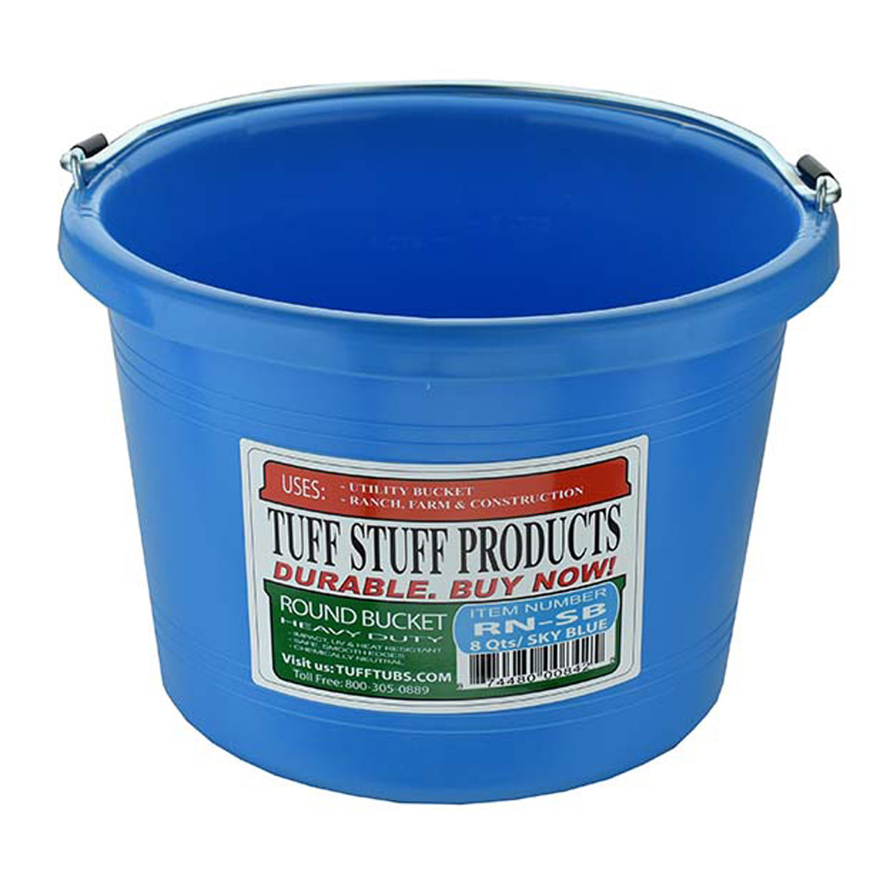 Tuff Stuff Round Bucket 8 Qts - Sky Blue - Buckets Pails Feeders Scoops Tubs Bottles Tuff Stuff - Canada