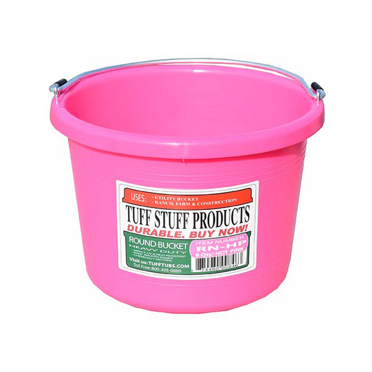 Tuff Stuff Round Bucket 8 Qts - Pink - Buckets Pails Feeders Scoops Tubs Bottles Tuff Stuff - Canada