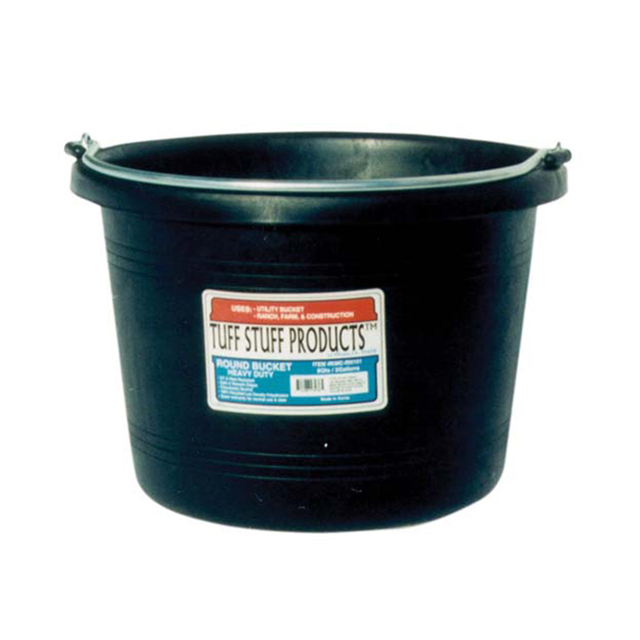 Tuff Stuff Round Bucket 8 Qts - Black - Buckets Pails Feeders Scoops Tubs Bottles Tuff Stuff - Canada