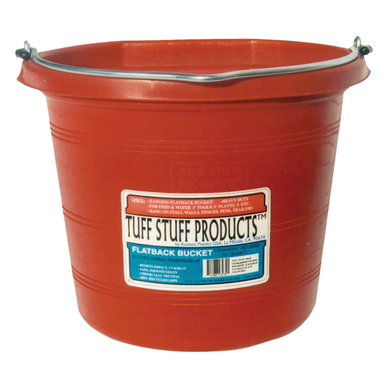 Tuff Stuff Flat Back Pail 20 Qts (Red) - Buckets Pails Feeders Scoops Tubs Bottles Tuff Stuff - Canada