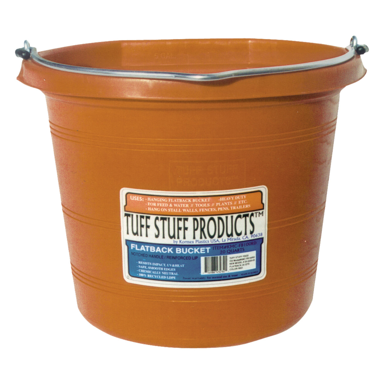 Tuff Stuff Flat Back Pail 20 Qts (Orange) - Buckets Pails Feeders Scoops Tubs Bottles Tuff Stuff - Canada