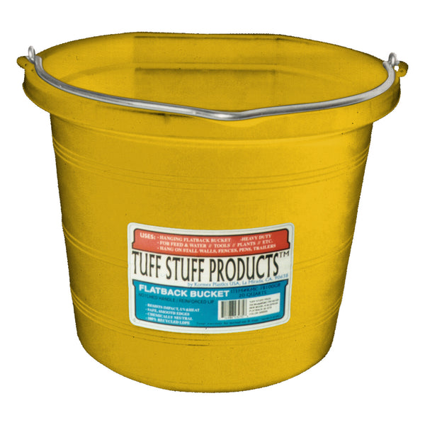 Tuff Stuff Flat Back Pail 20 Qts (Yellow) - Buckets Pails Feeders Scoops Tubs Bottles Tuff Stuff - Canada