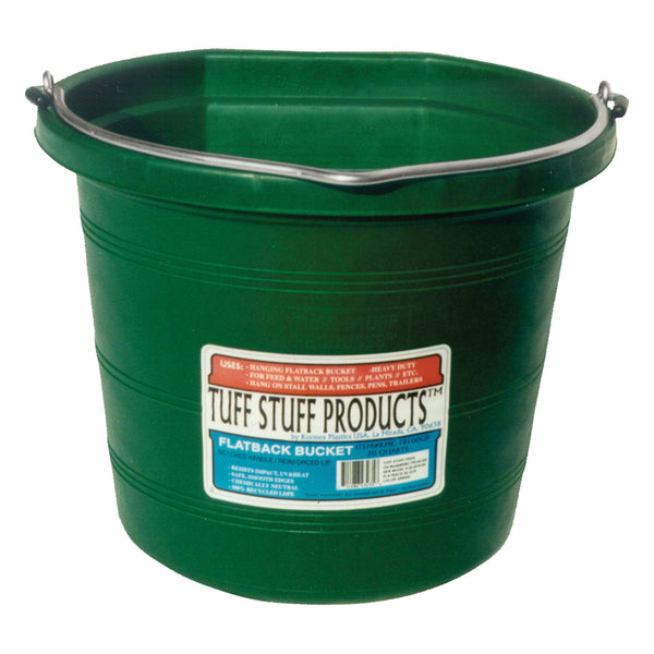 Tuff Stuff Flat Back Pail 20 Qts (Green) - Buckets Pails Feeders Scoops Tubs Bottles Tuff Stuff - Canada