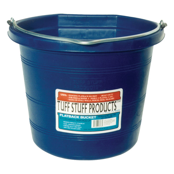 Tuff Stuff Flat Back Pail 20 Qts (Blue) - Buckets Pails Feeders Scoops Tubs Bottles Tuff Stuff - Canada