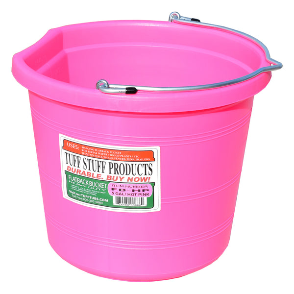Tuff Stuff Flat Back Pail 20 Qts (Pink) - Buckets Pails Feeders Scoops Tubs Bottles Tuff Stuff - Canada