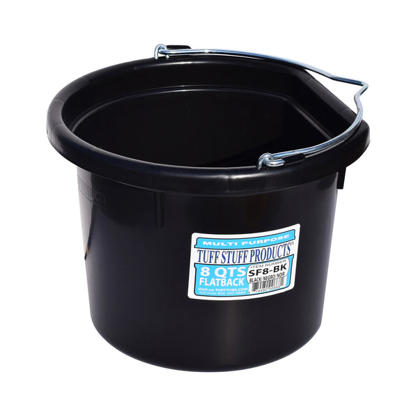 Tuff Stuff Flat Back Bucket 8 Qts (Black) - Buckets Pails Feeders Scoops Tubs Bottles Tuff Stuff - Canada