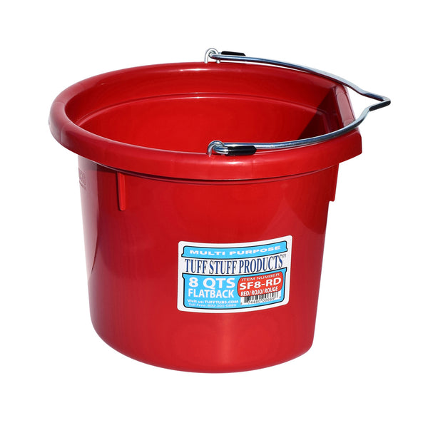 Tuff Stuff Flat Back Bucket 8 Qts (Red) - Buckets Pails Feeders Scoops Tubs Bottles Tuff Stuff - Canada