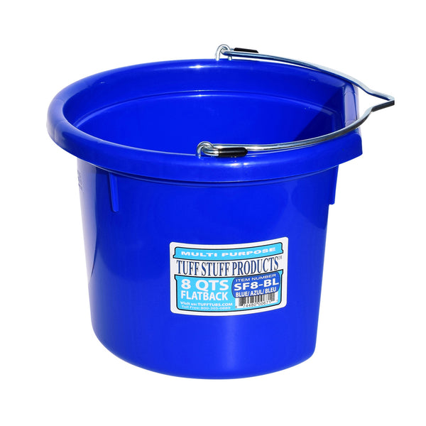 Tuff Stuff Flat Back Bucket 8 Qts (Blue) - Buckets Pails Feeders Scoops Tubs Bottles Tuff Stuff - Canada