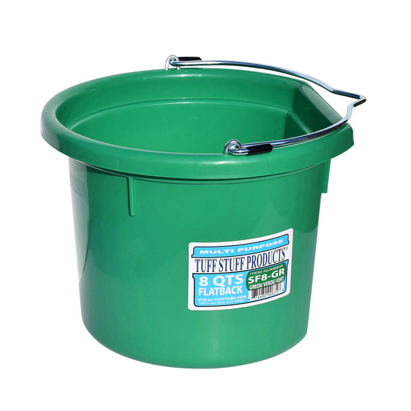 Tuff Stuff Flat Back Bucket 8 Qts (Green) - Buckets Pails Feeders Scoops Tubs Bottles Tuff Stuff - Canada