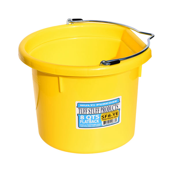 Tuff Stuff Flat Back Bucket 8 Qts (Yellow) - Buckets Pails Feeders Scoops Tubs Bottles Tuff Stuff - Canada