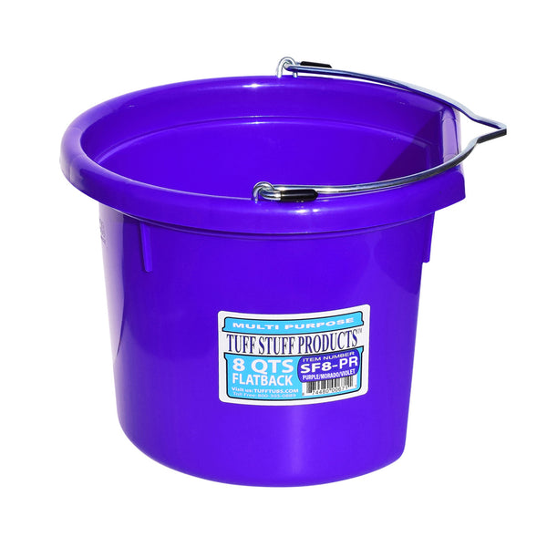 Tuff Stuff Flat Back Bucket 8 Qts (Purple) - Buckets Pails Feeders Scoops Tubs Bottles Tuff Stuff - Canada