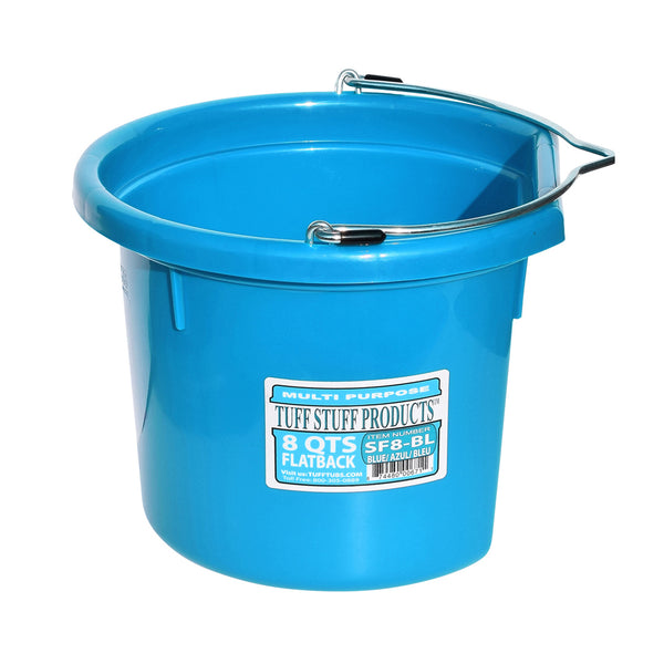 Tuff Stuff Flat Back Bucket 8 Qts (Sky Blue) - Buckets Pails Feeders Scoops Tubs Bottles Tuff Stuff - Canada