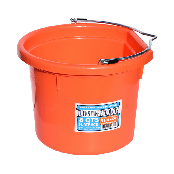 Tuff Stuff Flat Back Bucket 8 Qts (Orange) - Buckets Pails Feeders Scoops Tubs Bottles Tuff Stuff - Canada