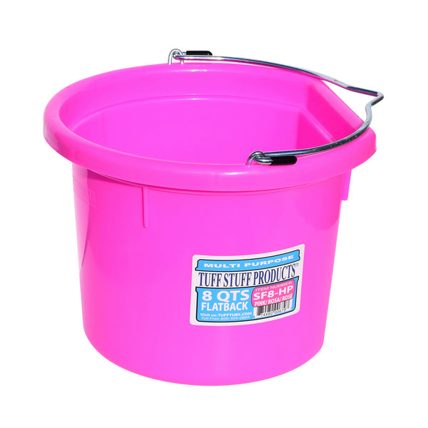 Tuff Stuff Flat Back Bucket 8 Qts (Pink) - Buckets Pails Feeders Scoops Tubs Bottles Tuff Stuff - Canada