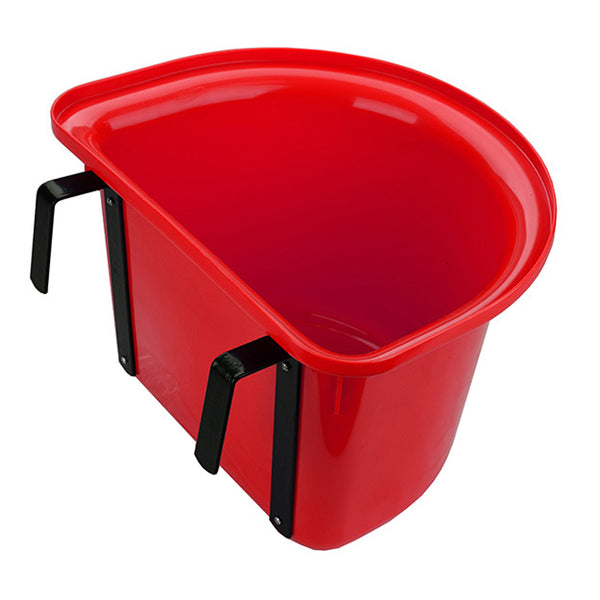 Tuff Stuff 1/2 Round Fence Feeder W/ Metal Hook & Handle 13 Qts - Red - Buckets Pails Feeders Scoops Tubs Bottles Tuff Stuff - Canada