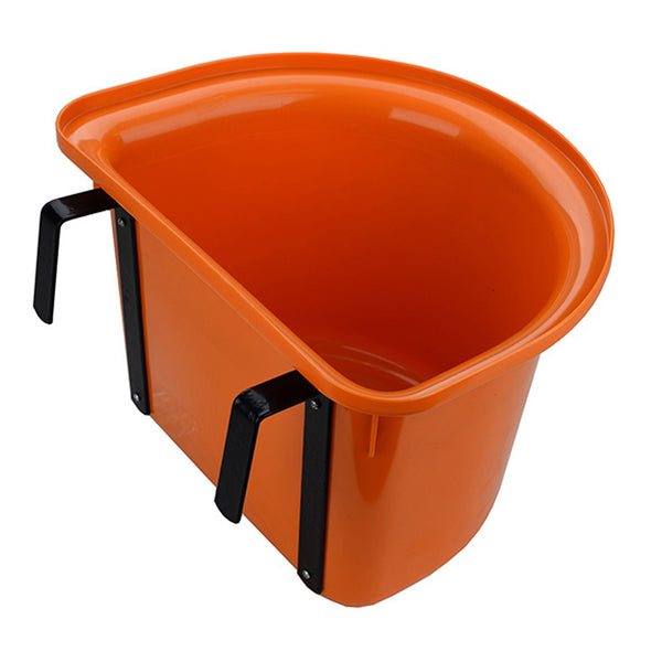 Tuff Stuff 1/2 Round Fence Feeder W/ Metal Hook & Handle 13 Qts - Orange - Buckets Pails Feeders Scoops Tubs Bottles Tuff Stuff - Canada