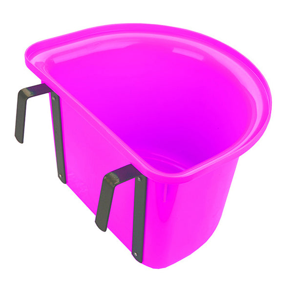 Tuff Stuff 1/2 Round Fence Feeder W/ Metal Hook & Handle 13 Qts - Pink - Buckets Pails Feeders Scoops Tubs Bottles Tuff Stuff - Canada