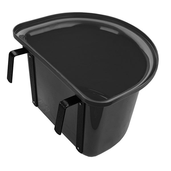 Tuff Stuff 1/2 Round Fence Feeder W/ Metal Hook & Handle 13 Qts - Black - Buckets Pails Feeders Scoops Tubs Bottles Tuff Stuff - Canada